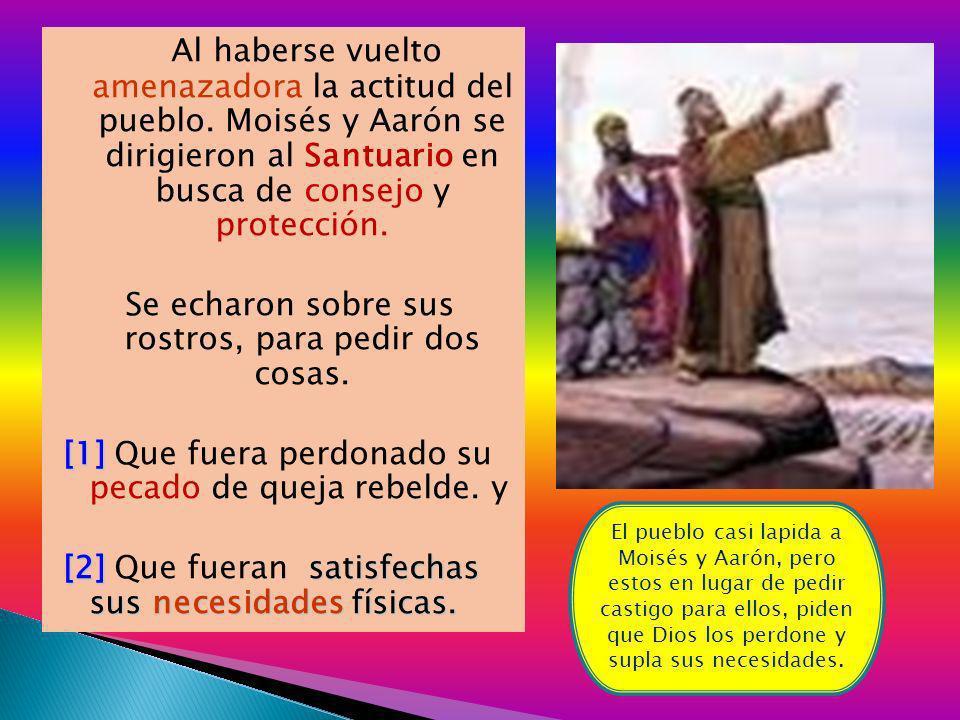 Al haberse vuelto amenazadora la actitud del pueblo. Moisés y Aarón se dirigieron al Santuario en busca de consejo y protección. Se echaron sobre sus