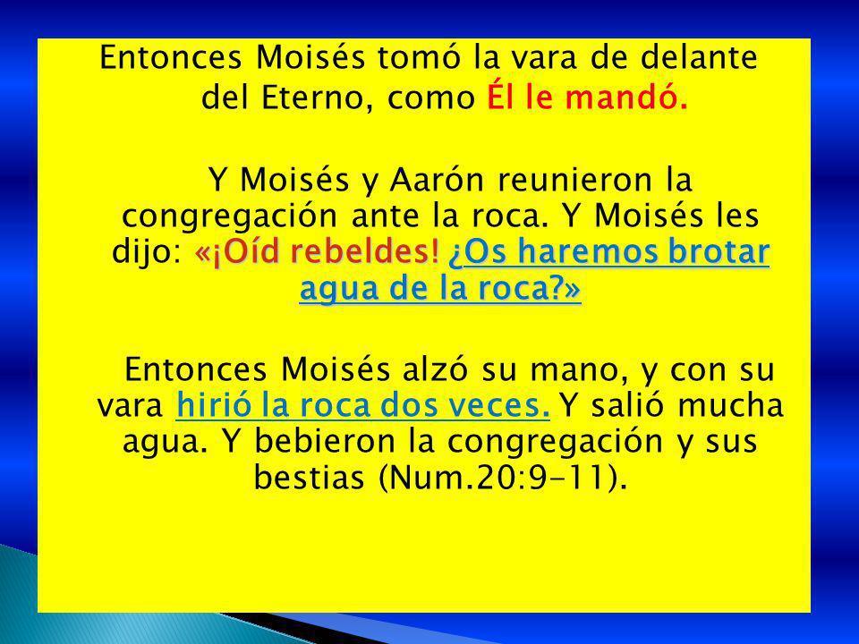 Entonces Moisés tomó la vara de delante del Eterno, como Él le mandó. «¡Oíd rebeldes! ¿Os haremos brotar agua de la roca?» Y Moisés y Aarón reunieron
