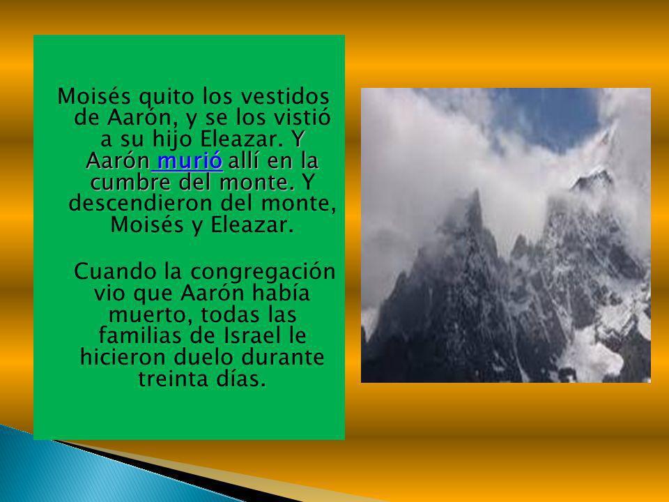Y Aarón murió allí en la cumbre del monte. Moisés quito los vestidos de Aarón, y se los vistió a su hijo Eleazar. Y Aarón murió allí en la cumbre del