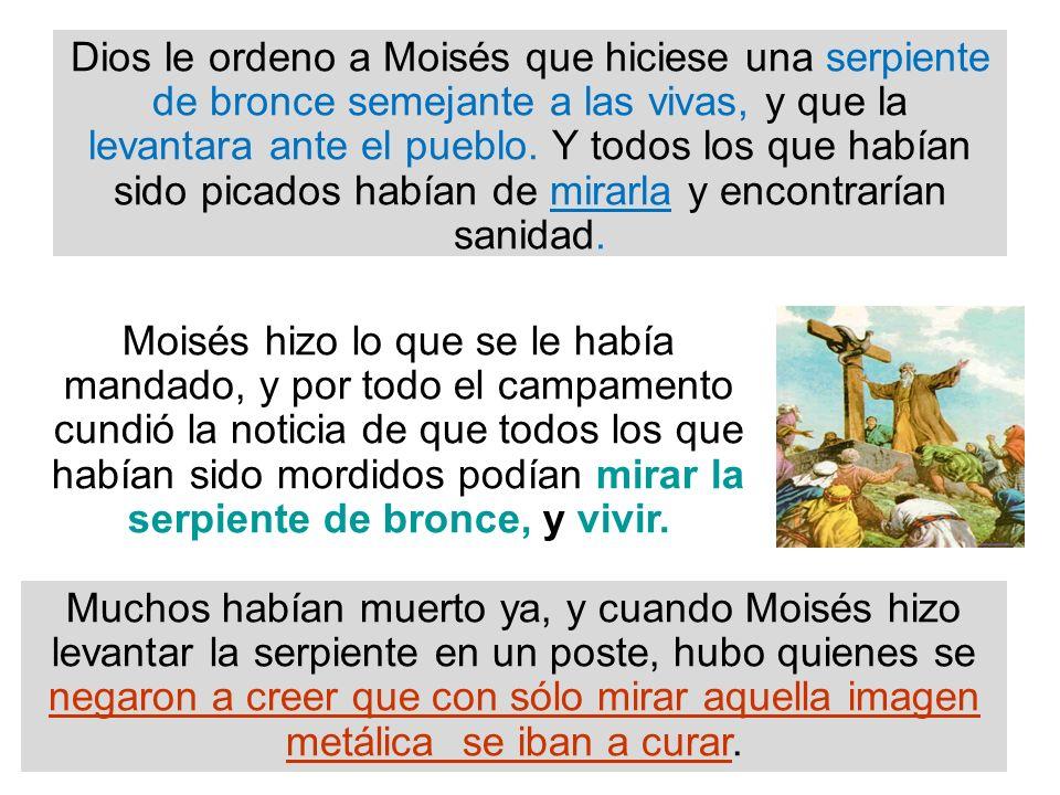 Dios le ordeno a Moisés que hiciese una serpiente de bronce semejante a las vivas, y que la levantara ante el pueblo. Y todos los que habían sido pica