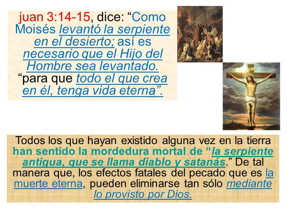 a juan 3:14-15, dice: Como Moisés levantó la serpiente en el desierto; así es necesario que el Hijo del Hombre sea levantado. para que todo el que cre