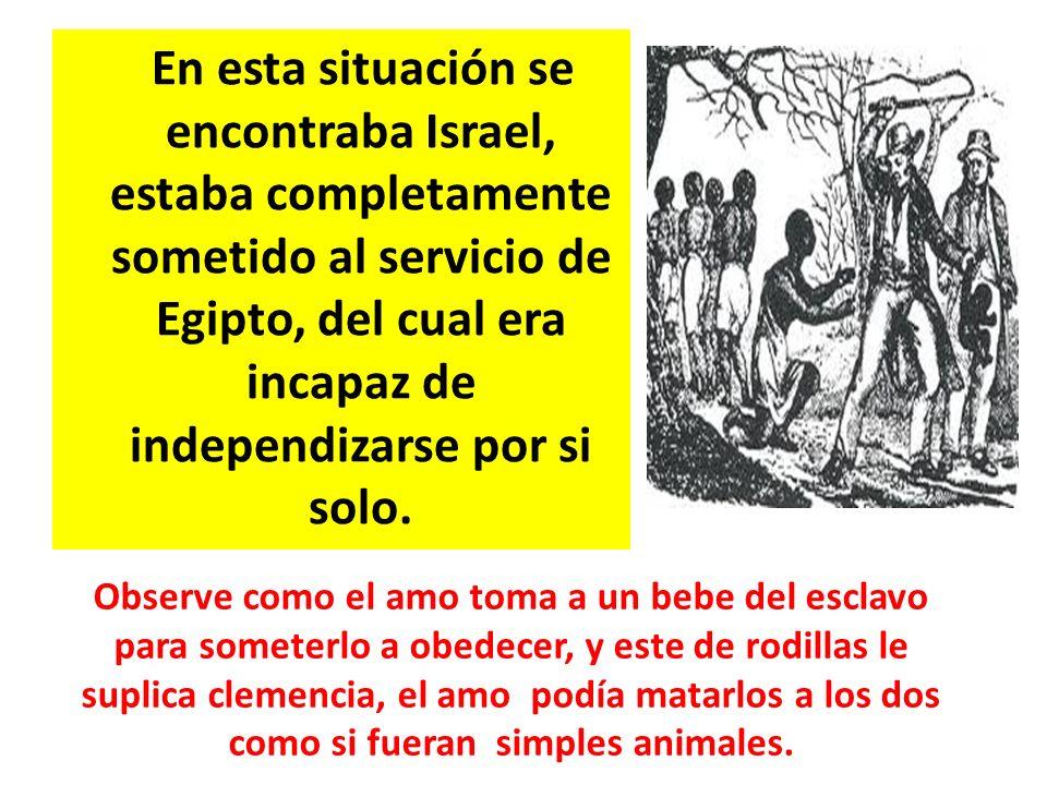 En esta situación se encontraba Israel, estaba completamente sometido al servicio de Egipto, del cual era incapaz de independizarse por si solo. Obser