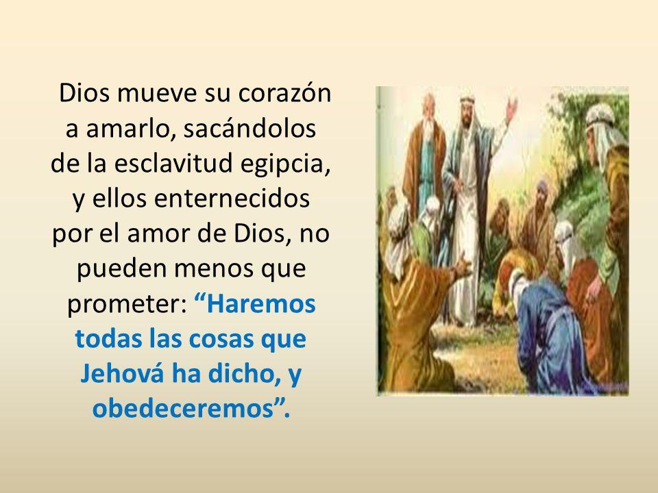 Dios mueve su corazón a amarlo, sacándolos de la esclavitud egipcia, y ellos enternecidos por el amor de Dios, no pueden menos que prometer: Haremos t