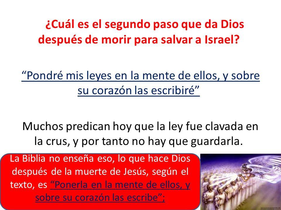 ¿Cuál es el segundo paso que da Dios después de morir para salvar a Israel? Pondré mis leyes en la mente de ellos, y sobre su corazón las escribiré Mu