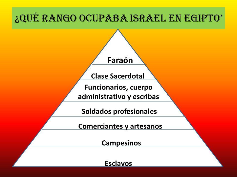¿Qué rango ocupaba Israel en Egipto Campesinos Faraón Clase Sacerdotal Funcionarios, cuerpo administrativo y escribas Soldados profesionales Comercian
