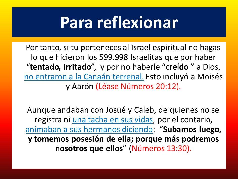 Para reflexionar Por tanto, si tu perteneces al Israel espiritual no hagas lo que hicieron los 599.998 Israelitas que por habertentado, irritado, y po