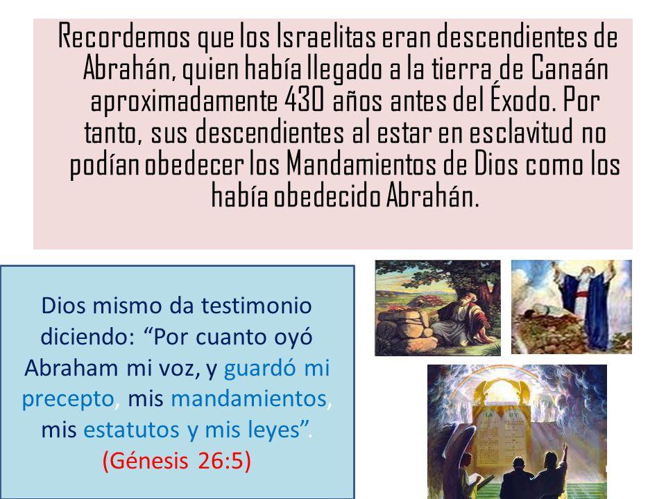 Recordemos que los Israelitas eran descendientes de Abrahán, quien había llegado a la tierra de Canaán aproximadamente 430 años antes del Éxodo. Por t