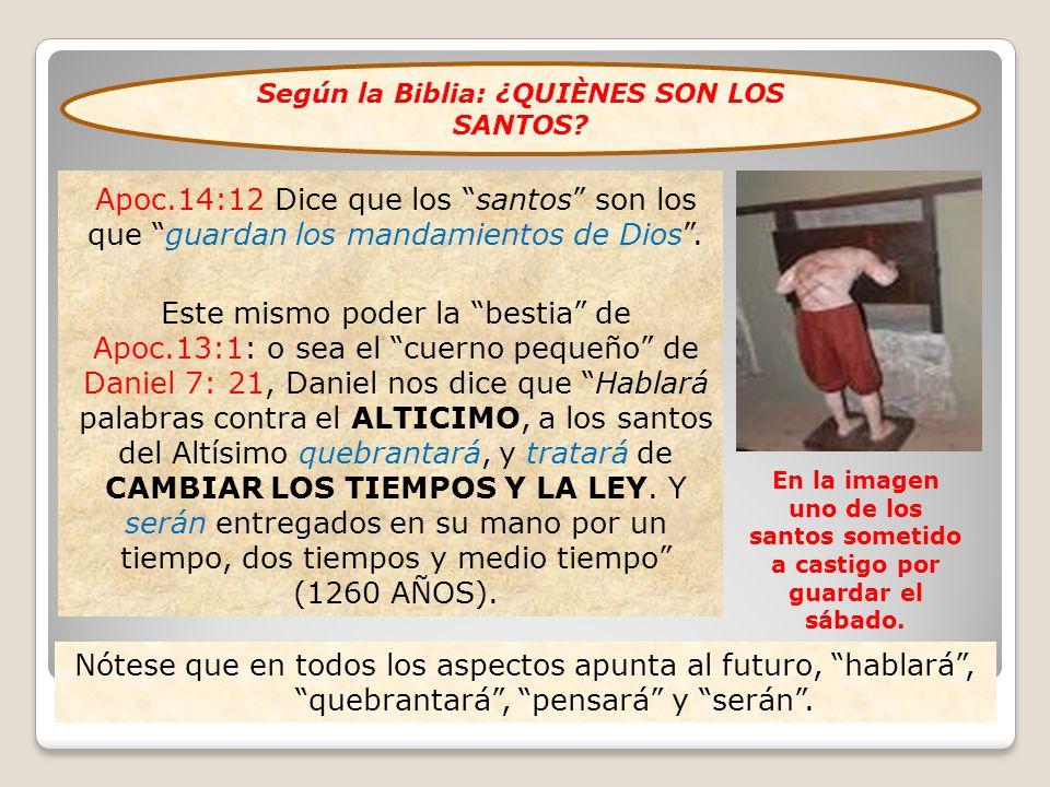 Apoc.14:12 Dice que los santos son los que guardan los mandamientos de Dios. Este mismo poder la bestia de Apoc.13:1: o sea el cuerno pequeño de Danie