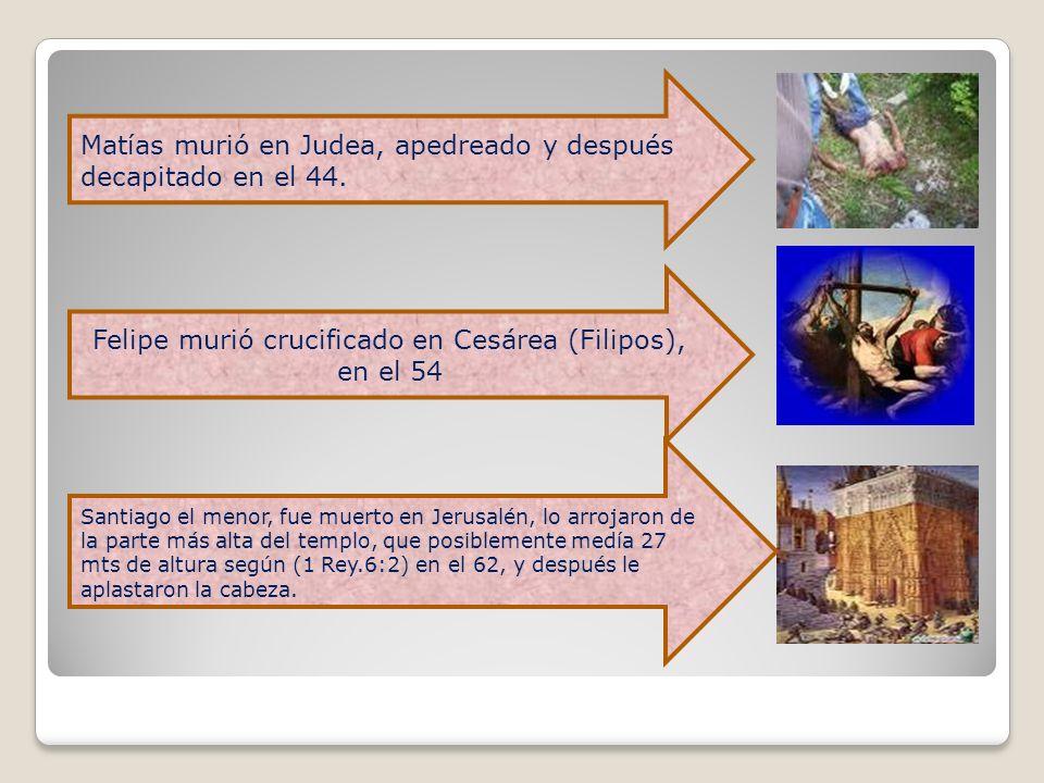 Matías murió en Judea, apedreado y después decapitado en el 44. Felipe murió crucificado en Cesárea (Filipos), en el 54 Santiago el menor, fue muerto