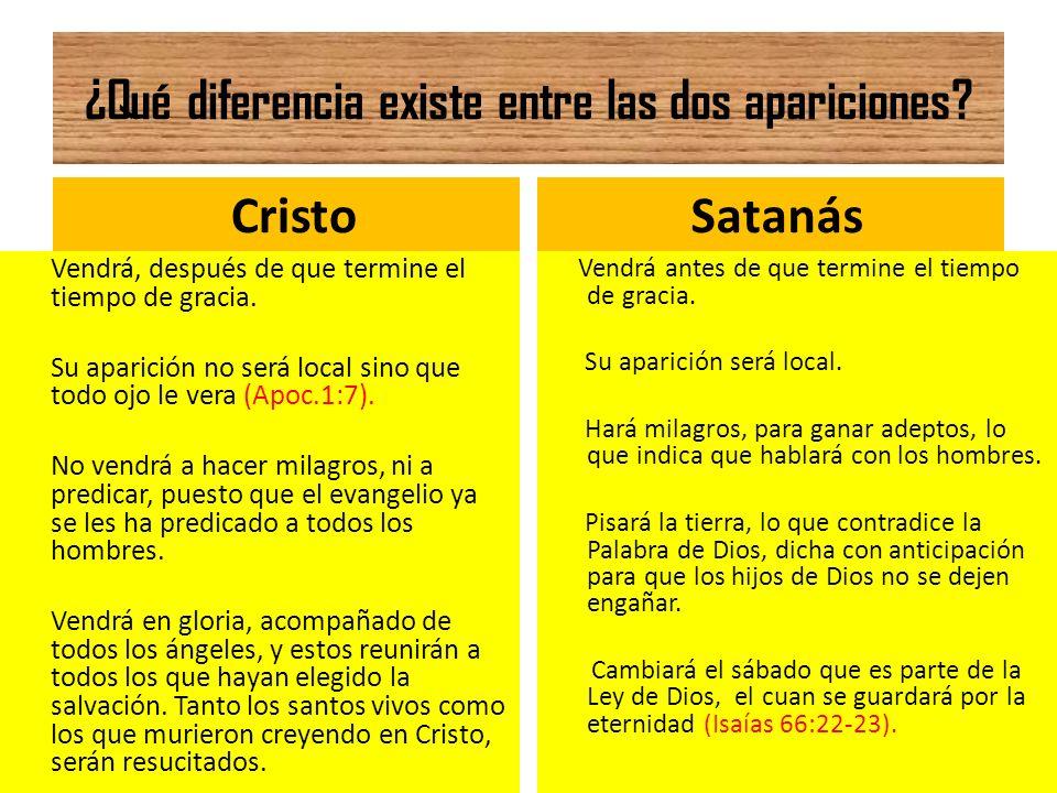 ¿Qué diferencia existe entre las dos apariciones? Cristo Vendrá, después de que termine el tiempo de gracia. Su aparición no será local sino que todo