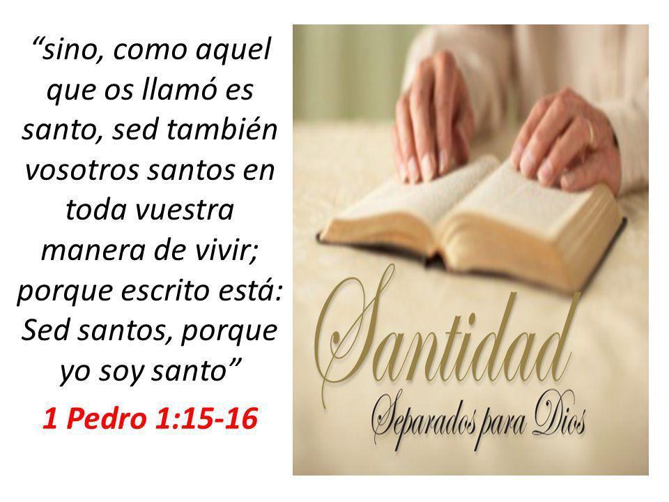 sino, como aquel que os llamó es santo, sed también vosotros santos en toda vuestra manera de vivir; porque escrito está: Sed santos, porque yo soy sa