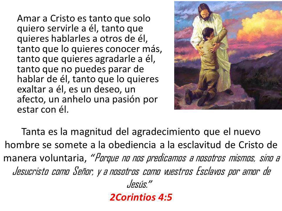 Amar a Cristo es tanto que solo quiero servirle a él, tanto que quieres hablarles a otros de él, tanto que lo quieres conocer más, tanto que quieres a