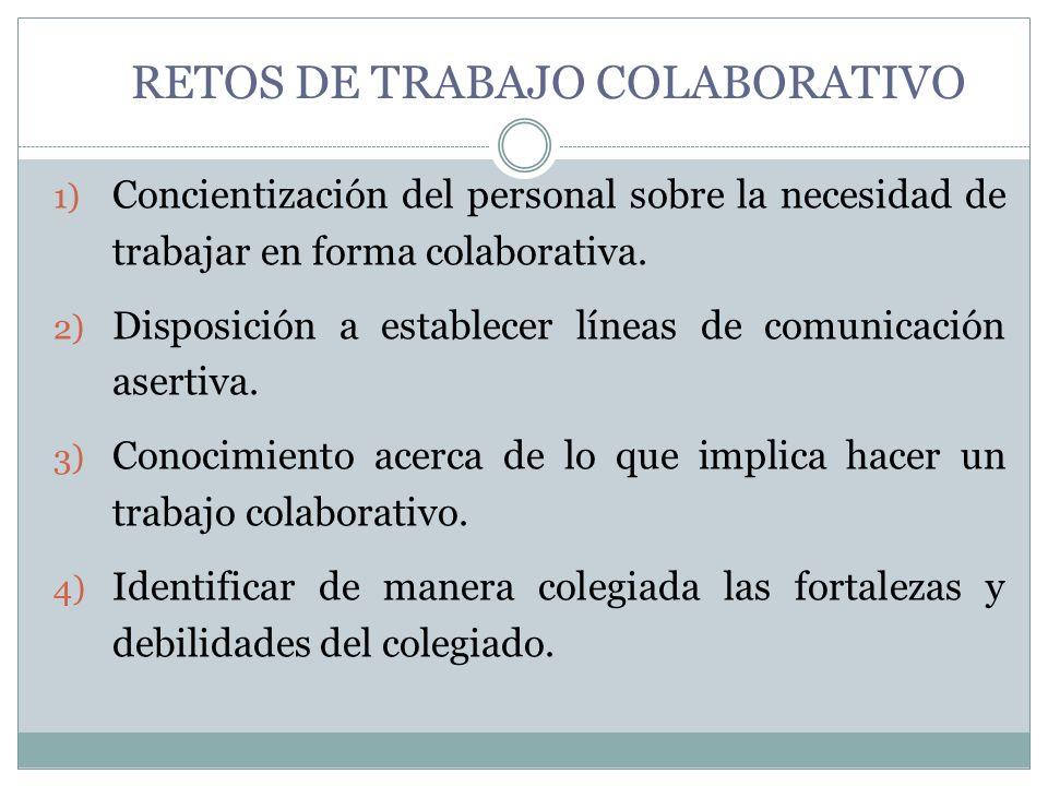RETOS DE TRABAJO COLABORATIVO Mantener un diálogo académico en donde se acuerden y determinen acciones de beneficio común.