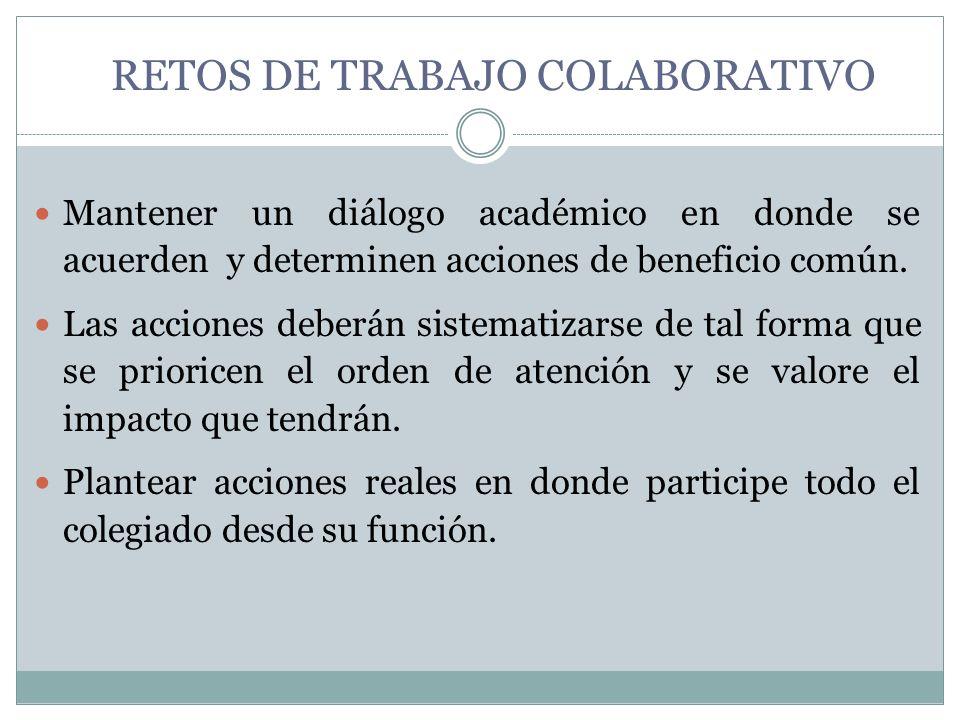 RETOS DE TRABAJO COLABORATIVO Mantener un diálogo académico en donde se acuerden y determinen acciones de beneficio común. Las acciones deberán sistem