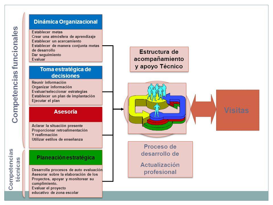 Dinámica Organizacional Establecer metas Crear una atmósfera de aprendizaje Establecer un acercamiento Establecer de manera conjunta metas de desarrollo Dar seguimiento Evaluar Establecer metas Crear una atmósfera de aprendizaje Establecer un acercamiento Establecer de manera conjunta metas de desarrollo Dar seguimiento Evaluar Asesoría Asesoría Aclarar la situación presente Proporcionar retroalimentación Y reafirmación Utilizar estilos de enseñanza Aclarar la situación presente Proporcionar retroalimentación Y reafirmación Utilizar estilos de enseñanza Toma estratégica de decisiones Toma estratégica de decisiones Reunir información Organizar información Evaluar/seleccionar estrategias Establecer un plan de implantación Ejecutar el plan Reunir información Organizar información Evaluar/seleccionar estrategias Establecer un plan de implantación Ejecutar el plan Planeación estratégica Desarrolla procesos de auto evaluación Asesorar sobre la elaboración de los Proyectos, apoyar y monitorear su cumplimiento.
