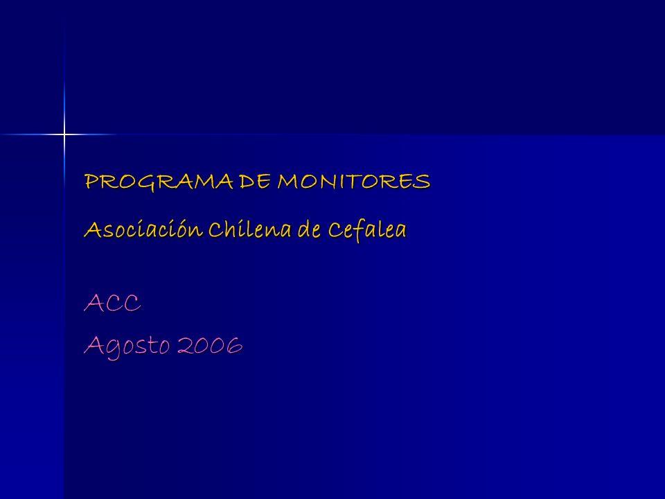 PROGRAMA DE MONITORES Asociación Chilena de Cefalea ACC Agosto 2006