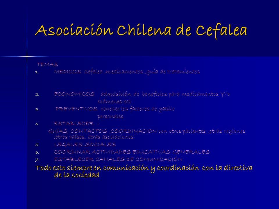 Asociación Chilena de Cefalea TEMAS TEMAS 1. MEDICOS Cefalea,medicamentos,guía de tratamientos 2. ECONOMICOS adquisición de beneficios para medicament