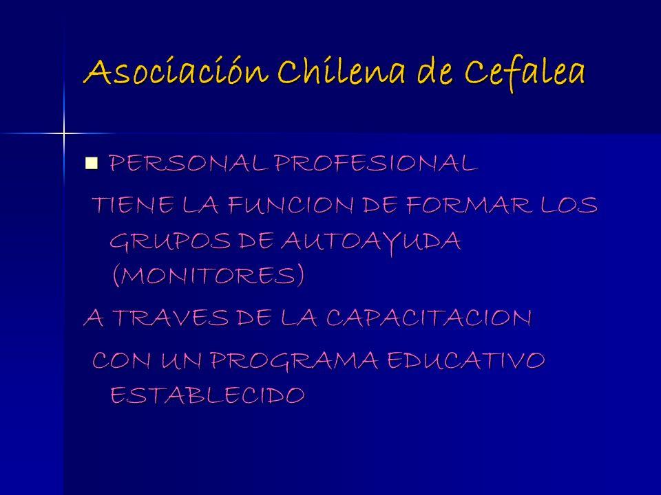 Asociación Chilena de Cefalea PERSONAL PROFESIONAL PERSONAL PROFESIONAL TIENE LA FUNCION DE FORMAR LOS GRUPOS DE AUTOAYUDA (MONITORES) TIENE LA FUNCIO