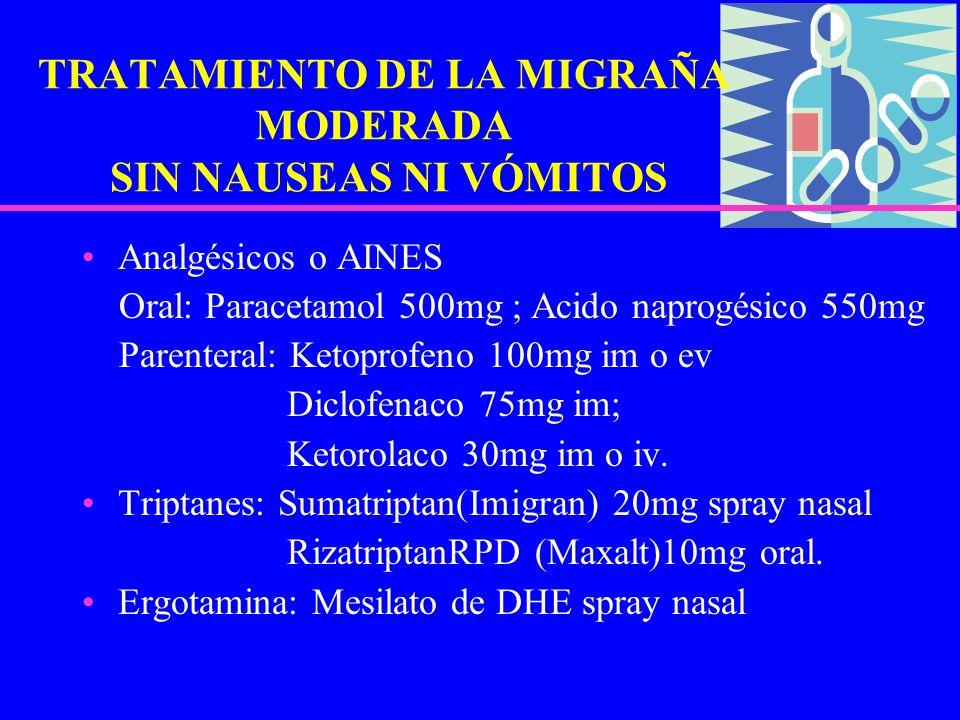 TRATAMIENTO DE LA MIGRAÑA MODERADA SIN NAUSEAS NI VÓMITOS Analgésicos o AINES Oral: Paracetamol 500mg ; Acido naprogésico 550mg Parenteral: Ketoprofen