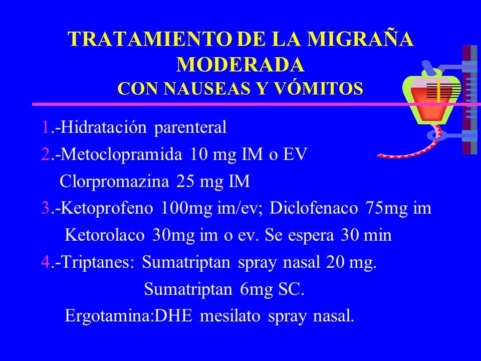TRATAMIENTO DE LA MIGRAÑA MODERADA CON NAUSEAS Y VÓMITOS 1.-Hidratación parenteral 2.-Metoclopramida 10 mg IM o EV Clorpromazina 25 mg IM 3.-Ketoprofe