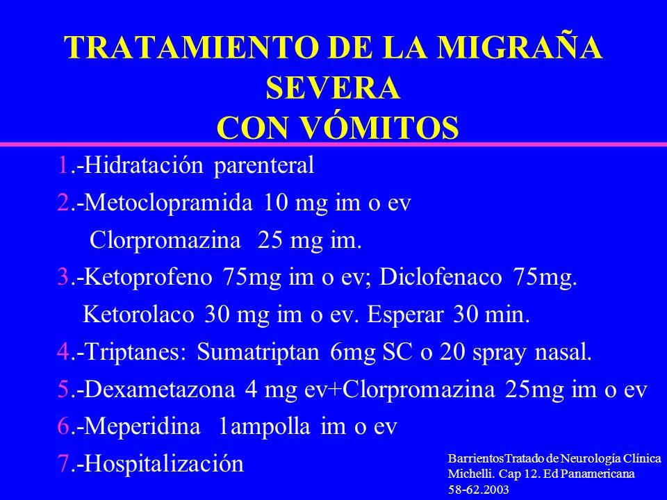 TRATAMIENTO DE LA MIGRAÑA SEVERA CON VÓMITOS 1.-Hidratación parenteral 2.-Metoclopramida 10 mg im o ev Clorpromazina 25 mg im. 3.-Ketoprofeno 75mg im