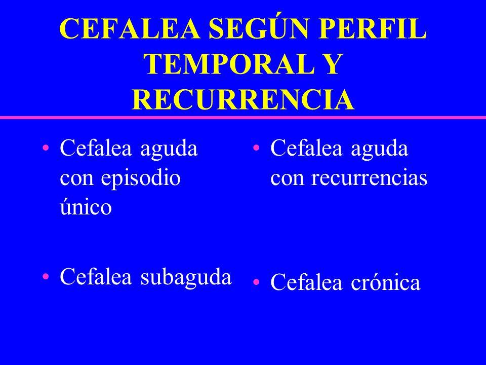 CEFALEA SEGÚN PERFIL TEMPORAL Y RECURRENCIA Cefalea aguda con episodio único Cefalea subaguda Cefalea aguda con recurrencias Cefalea crónica