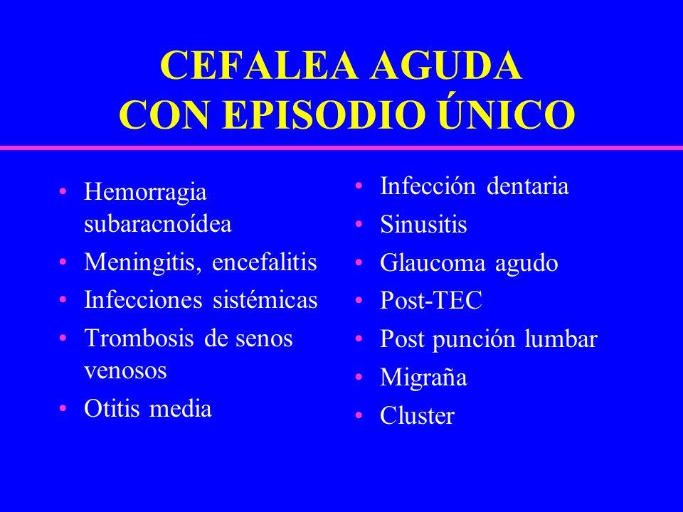 CEFALEA AGUDA CON EPISODIO ÚNICO Hemorragia subaracnoídea Meningitis, encefalitis Infecciones sistémicas Trombosis de senos venosos Otitis media Infec