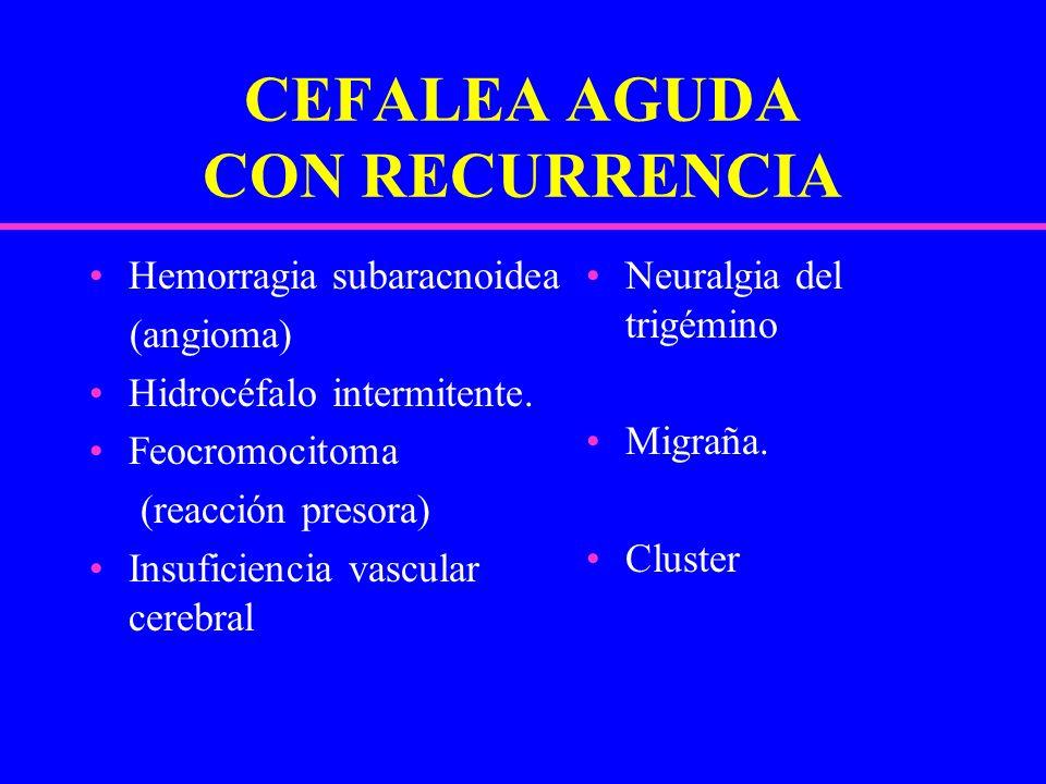 CEFALEA AGUDA CON RECURRENCIA Hemorragia subaracnoidea (angioma) Hidrocéfalo intermitente. Feocromocitoma (reacción presora) Insuficiencia vascular ce