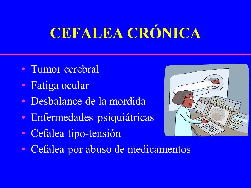 CEFALEA CRÓNICA Tumor cerebral Fatiga ocular Desbalance de la mordida Enfermedades psiquiátricas Cefalea tipo-tensión Cefalea por abuso de medicamento