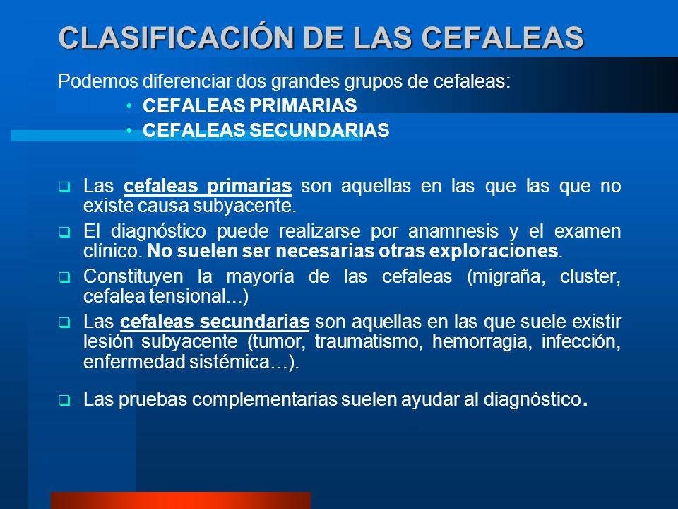 CLASIFICACIÓN DE LAS CEFALEAS Podemos diferenciar dos grandes grupos de cefaleas: CEFALEAS PRIMARIAS CEFALEAS SECUNDARIAS Las cefaleas primarias son a