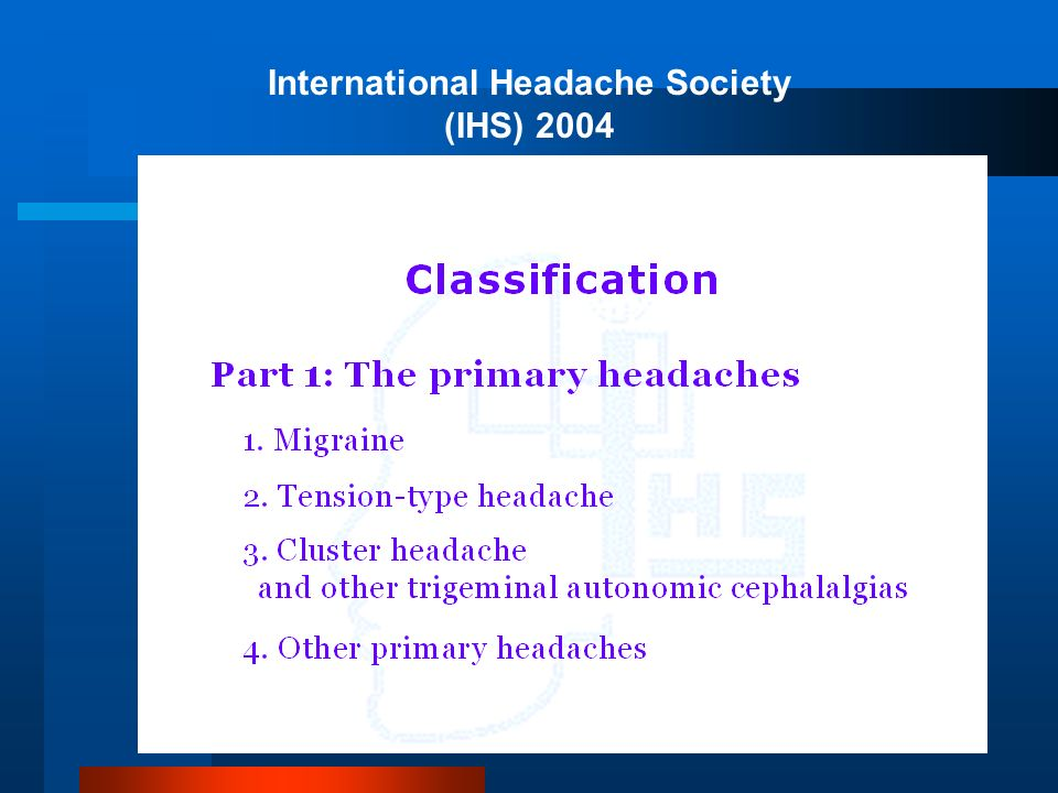 International Headache Society (IHS) 2004