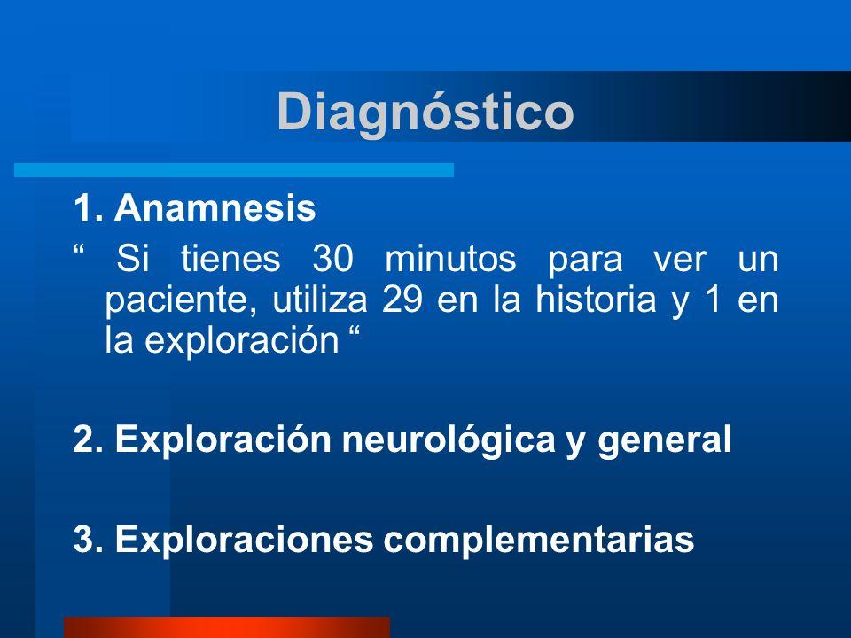 Diagnóstico 1. Anamnesis Si tienes 30 minutos para ver un paciente, utiliza 29 en la historia y 1 en la exploración 2. Exploración neurológica y gener