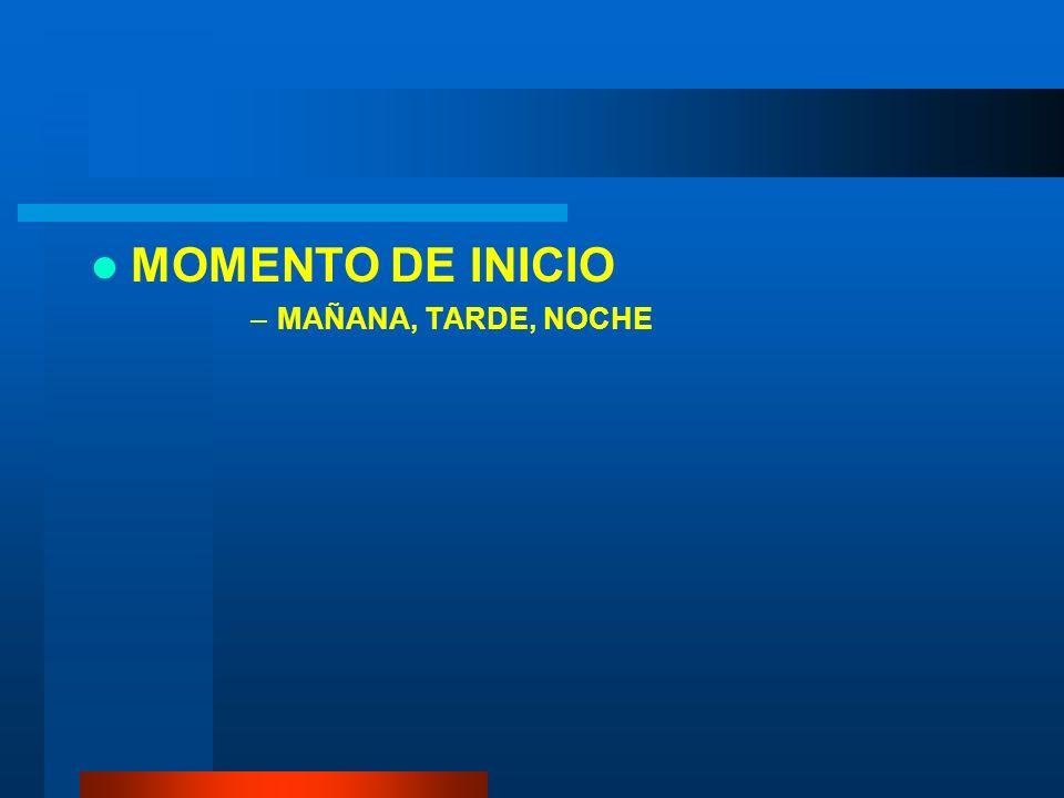 MOMENTO DE INICIO –MAÑANA, TARDE, NOCHE