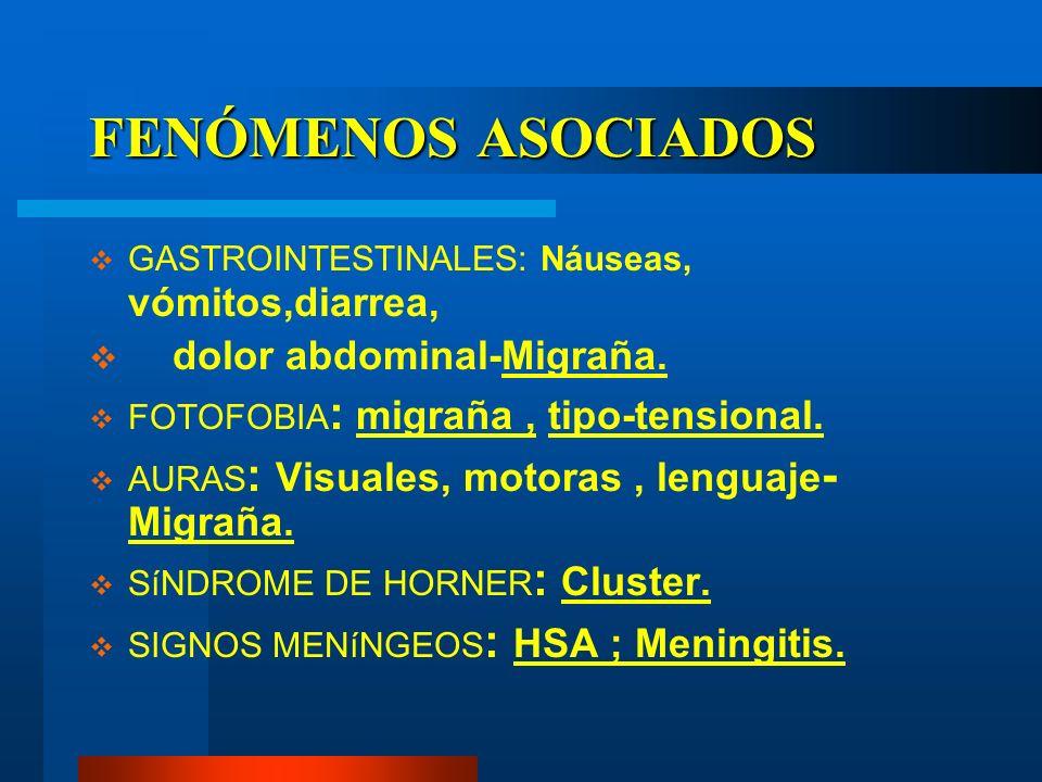 FENÓMENOS ASOCIADOS GASTROINTESTINALES: Náuseas, vómitos,diarrea, dolor abdominal-Migraña. FOTOFOBIA : migraña, tipo-tensional. AURAS : Visuales, moto