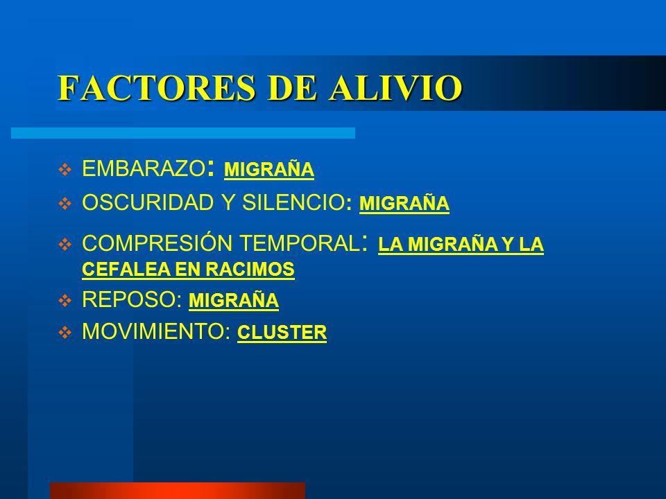 FACTORES DE ALIVIO EMBARAZO : MIGRAÑA OSCURIDAD Y SILENCIO: MIGRAÑA COMPRESIÓN TEMPORAL : LA MIGRAÑA Y LA CEFALEA EN RACIMOS REPOSO: MIGRAÑA MOVIMIENT