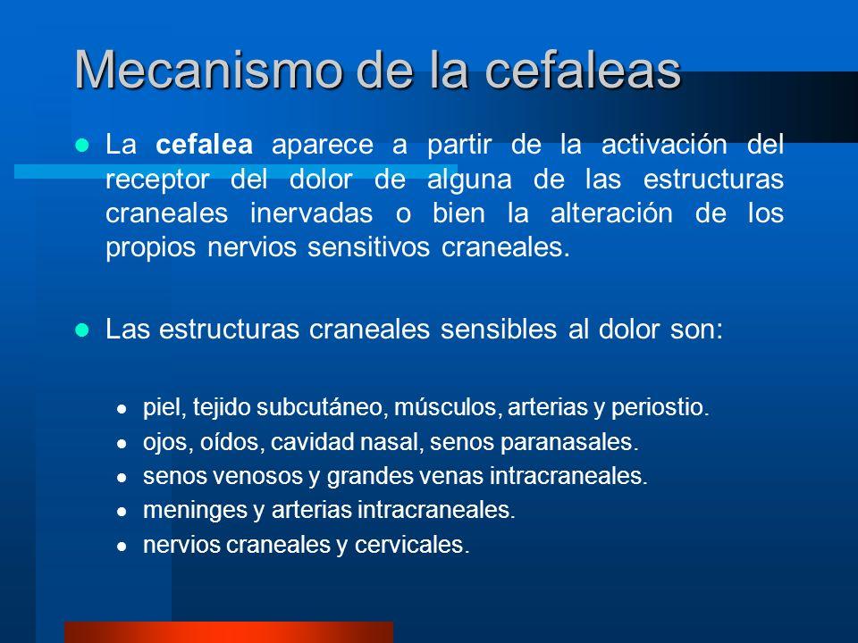 Los mecanismos a partir de los cuales se produce el dolor son: Dilatación y tracción o inflamación de arterias y venas intra o extracerebrales.