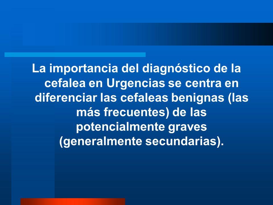 CLASIFICACIÓN DE LAS CEFALEAS Podemos diferenciar dos grandes grupos de cefaleas: CEFALEAS PRIMARIAS CEFALEAS SECUNDARIAS Las cefaleas primarias son aquellas en las que las que no existe causa subyacente.