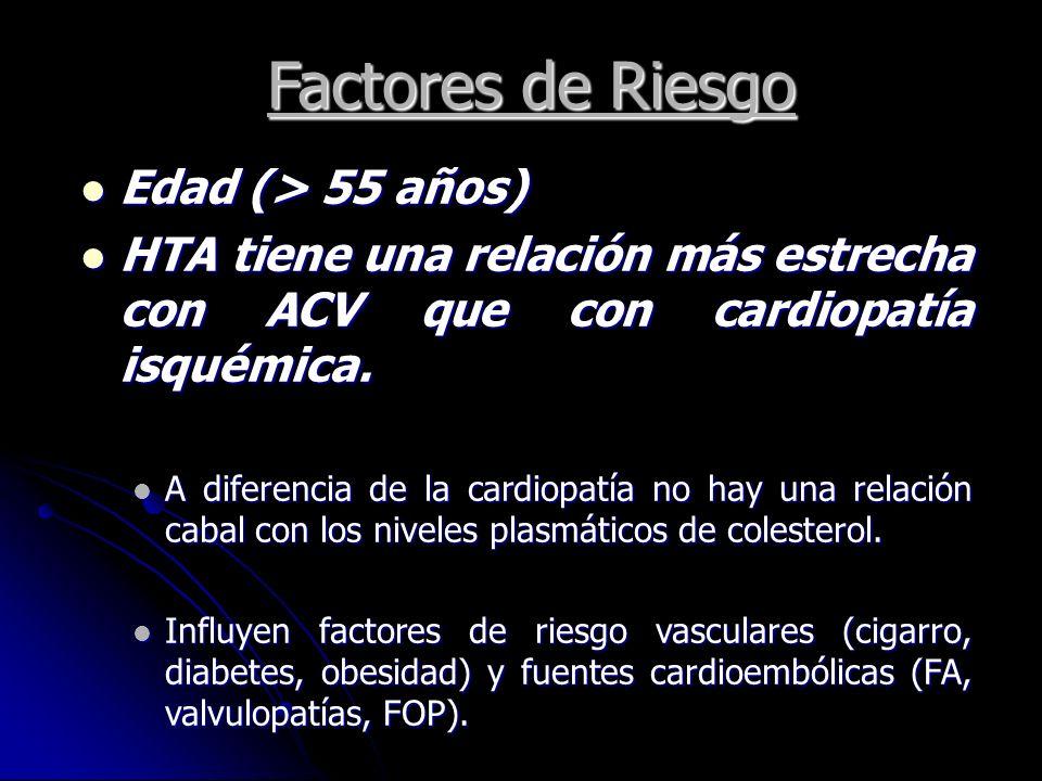 Factores de Riesgo Edad (> 55 años) Edad (> 55 años) HTA tiene una relación más estrecha con ACV que con cardiopatía isquémica. HTA tiene una relación