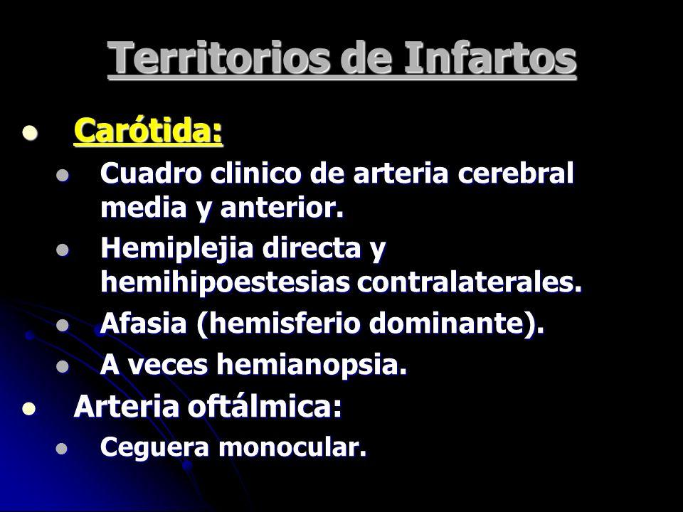 Territorios de Infartos Carótida: Carótida: Cuadro clinico de arteria cerebral media y anterior. Cuadro clinico de arteria cerebral media y anterior.
