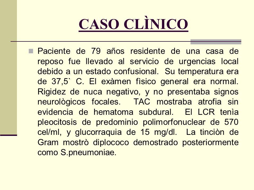 CASO CLÌNICO Paciente de 79 años residente de una casa de reposo fue llevado al servicio de urgencias local debido a un estado confusional. Su tempera