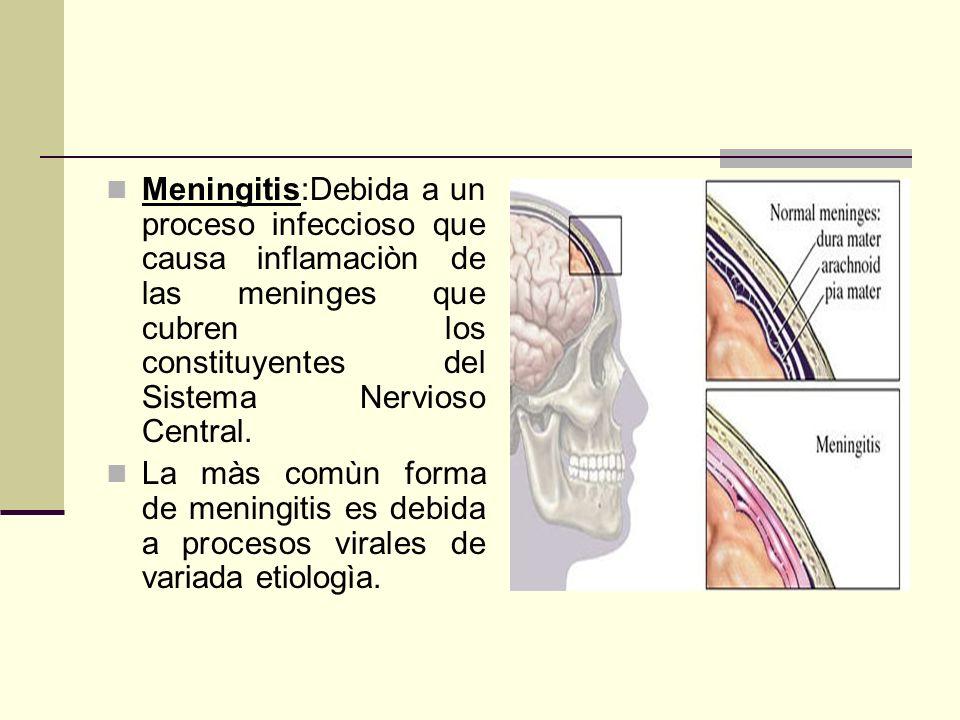 Meningitis:Debida a un proceso infeccioso que causa inflamaciòn de las meninges que cubren los constituyentes del Sistema Nervioso Central. La màs com
