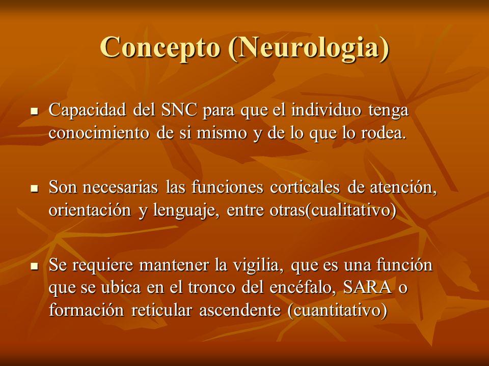 Concepto (Neurologia) Capacidad del SNC para que el individuo tenga conocimiento de si mismo y de lo que lo rodea. Capacidad del SNC para que el indiv