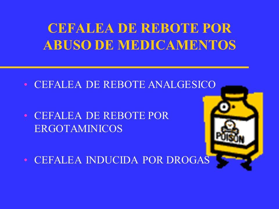 CEFALEA DE REBOTE POR ABUSO DE MEDICAMENTOS Es la perpetuación de la cefalalgia cuando los medicamentos que la alivian se usan frecuentemente.