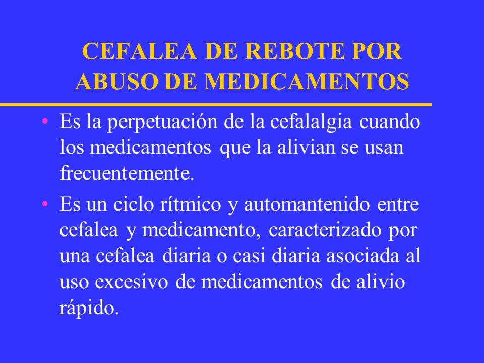 DEFINICION OPERACIONAL PARA LA CEFALEA DE REBOTE ANALGESICO(IHS) Se presenta después de usar altas dosis de analgésicos por más de 3 meses.