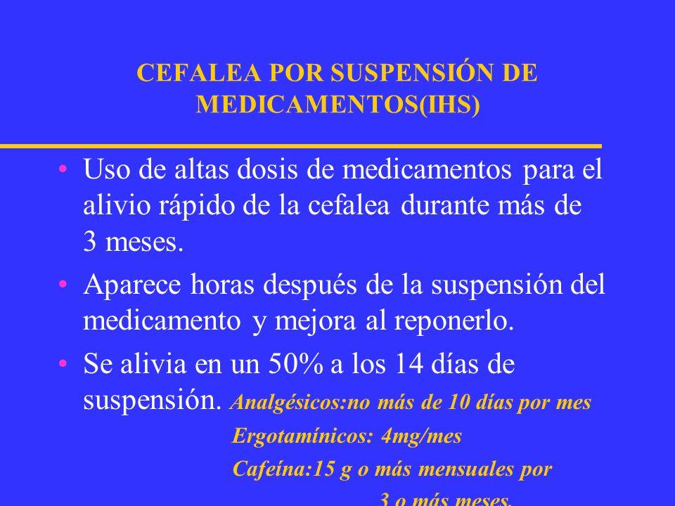 CLINICA DE LA CEFALEA DE REBOTE Cefalea refractaria crónica diaria Cefalópata primario que abusa de medicamentos de alivio rápido La cefalea varía su carácter, localización y severidad.