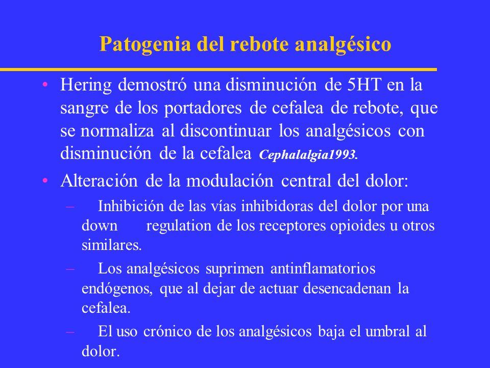 Tratamiento de la cefalea de rebote Educar y motivar al paciente Suspender analgésicos y ergotamínicos Explicar que al discontinuar el medicamento se va a producir una cefalea por abstinencia del analgésico y/o ergotamínico.
