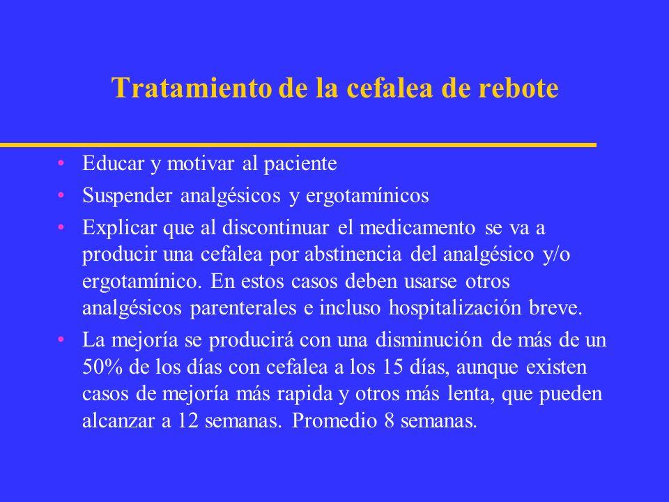 TRATAMIENTO PRÁCTICO CEFALEA DE REBOTE 1.-Suspensión de analgésicos-ergotamínicos.