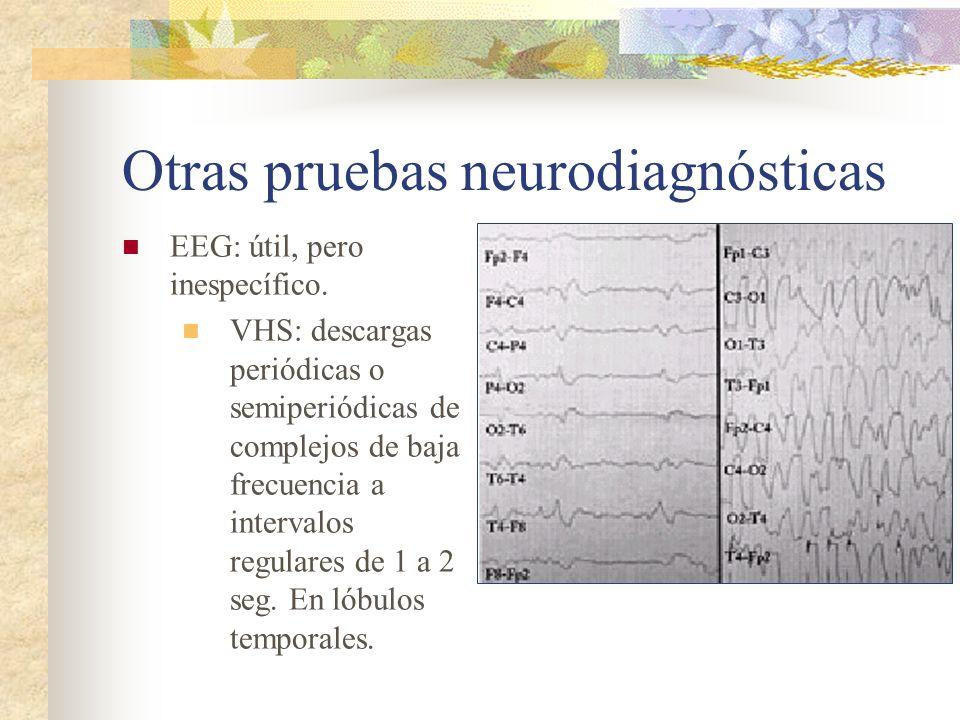 Otras pruebas neurodiagnósticas EEG: útil, pero inespecífico. VHS: descargas periódicas o semiperiódicas de complejos de baja frecuencia a intervalos