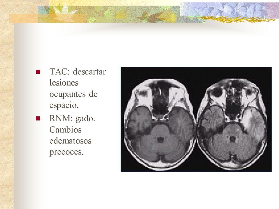 TAC: descartar lesiones ocupantes de espacio. RNM: gado. Cambios edematosos precoces.