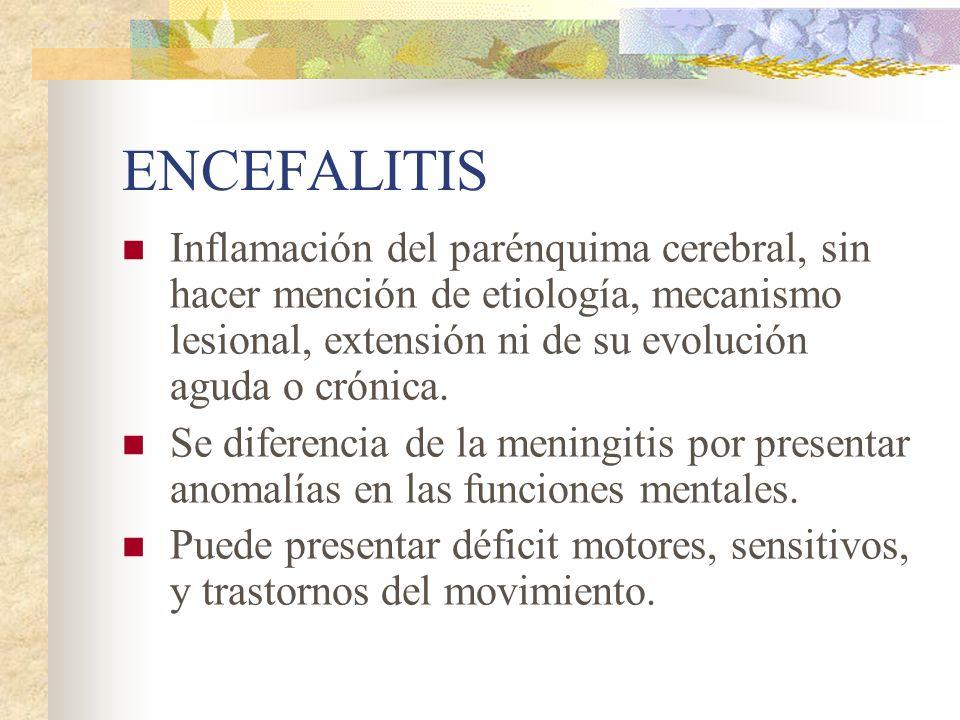 ENCEFALITIS Inflamación del parénquima cerebral, sin hacer mención de etiología, mecanismo lesional, extensión ni de su evolución aguda o crónica. Se